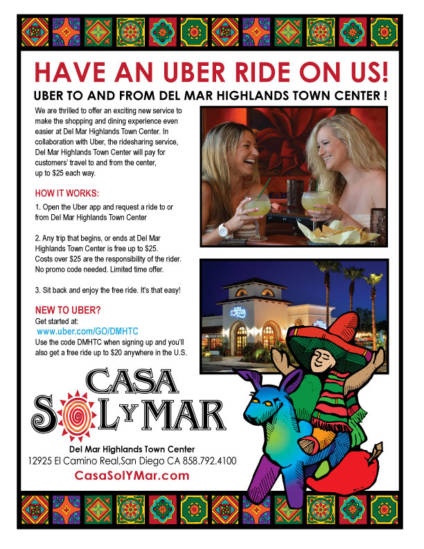 Free Uber Rides to Del Mar Highlands Town Center