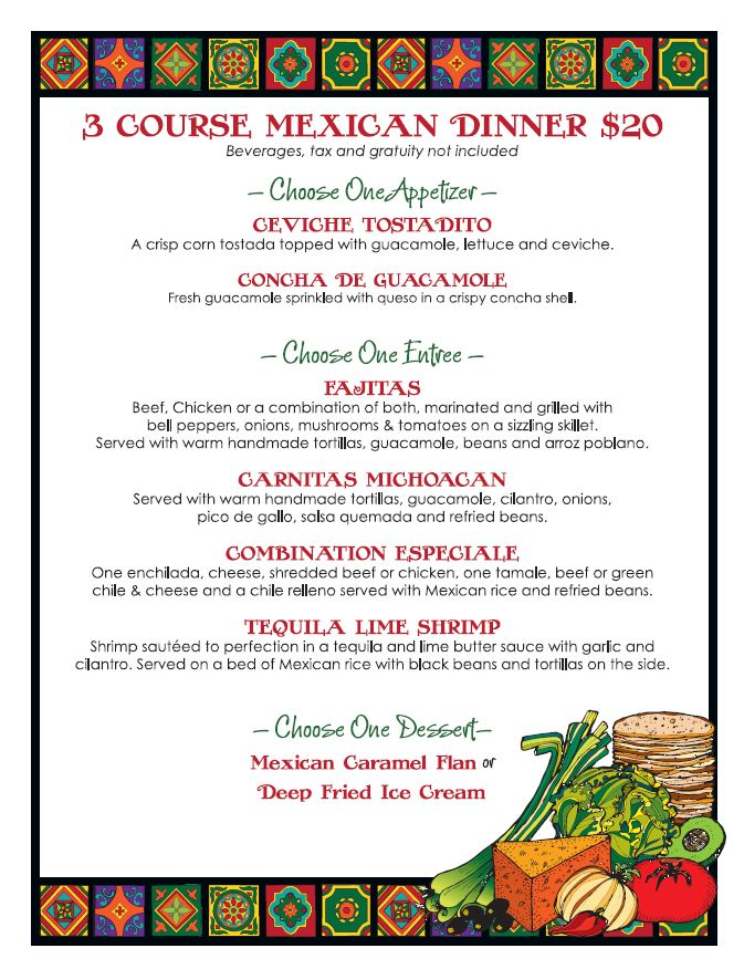 Casa Sol y Mar Restaurant Week Dinner Menu